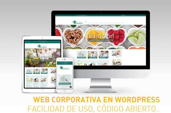 Web corporativa para farmacia en sistema wordpress
