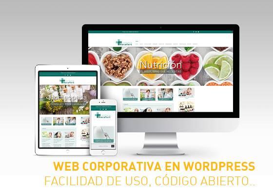 Web corporativa para farmacia en sistema wordpress